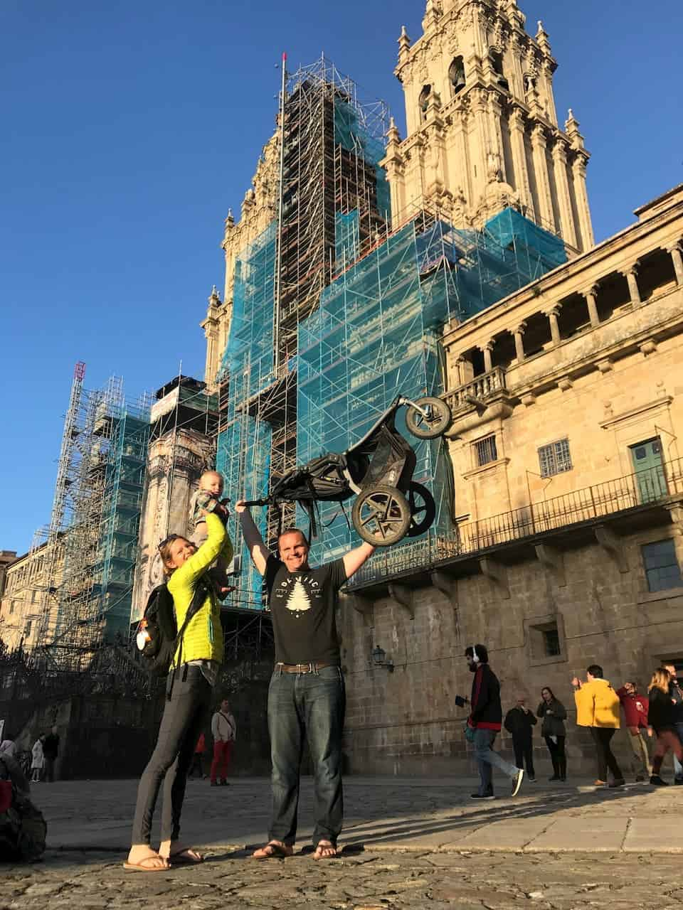 Celebrating their arrival to Santiago de Compostela