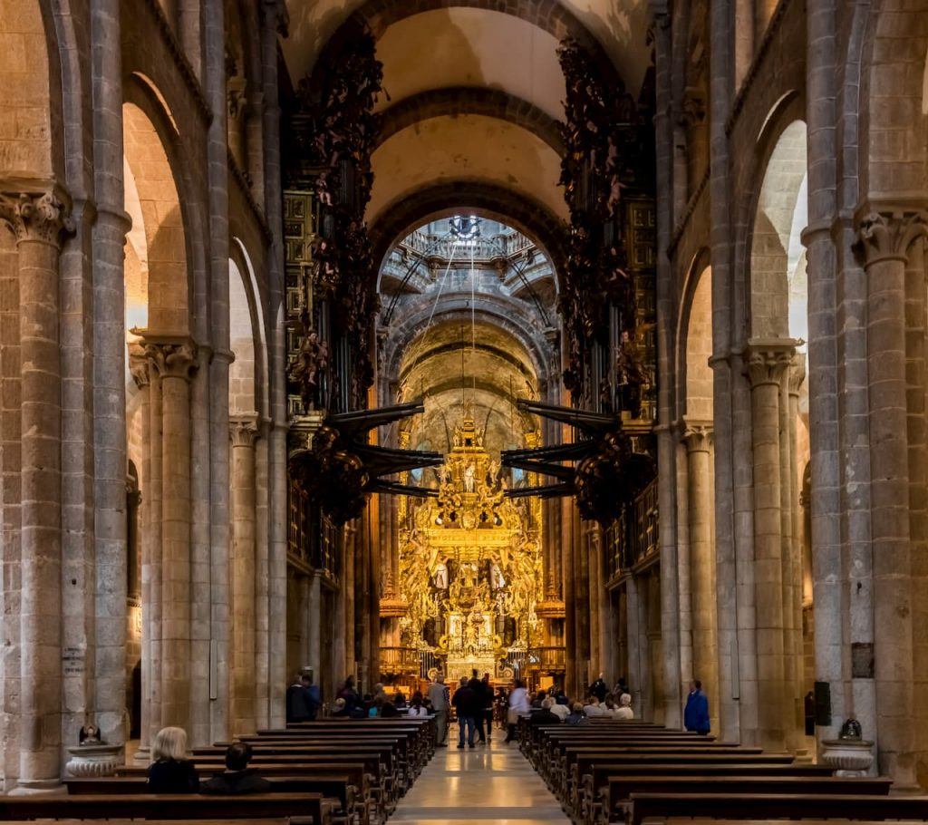 The inside of the Cathedral in Santiago de Compostela
