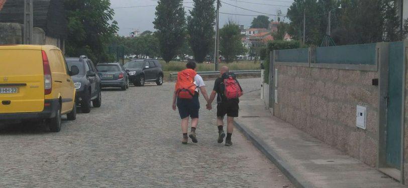 couple walking Camino Portuguese