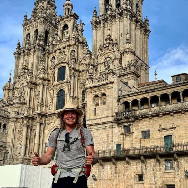 Dan at the Plaza de Obradoiro
