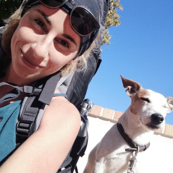 Gaelle and Scott her dog